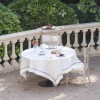 Agropoli Linen Tablecloth with Blue Border